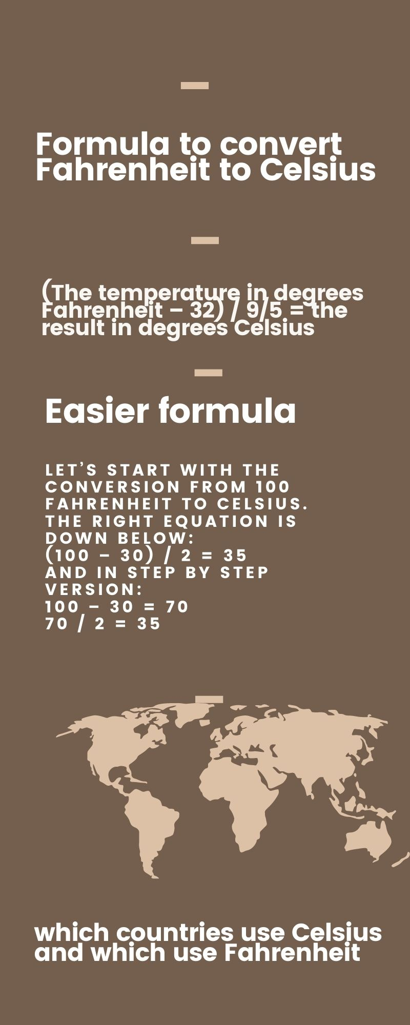 Formula on how to convert Fahrenheit to Celsius - infographic