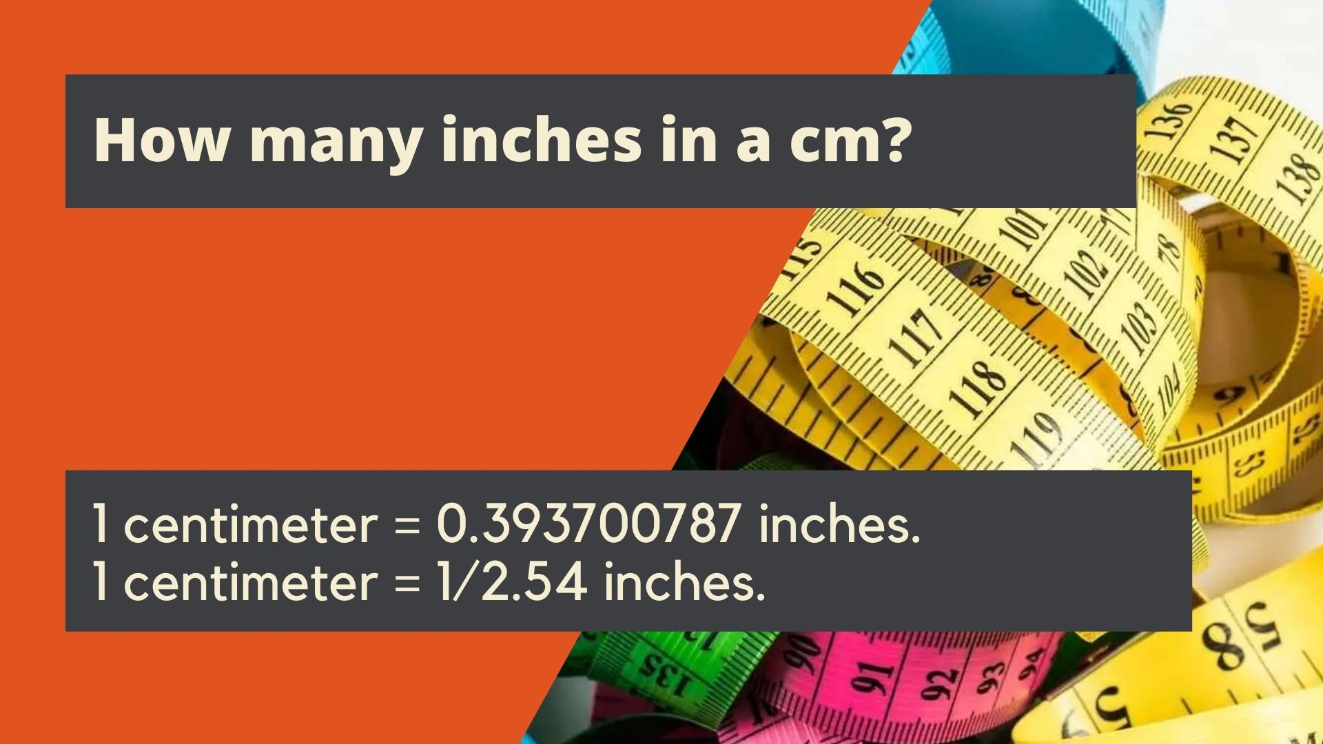 How many inches in a cm?