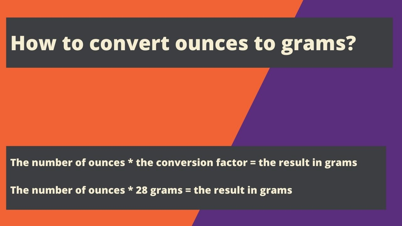The number of ounces * the conversion factor = the result in grams