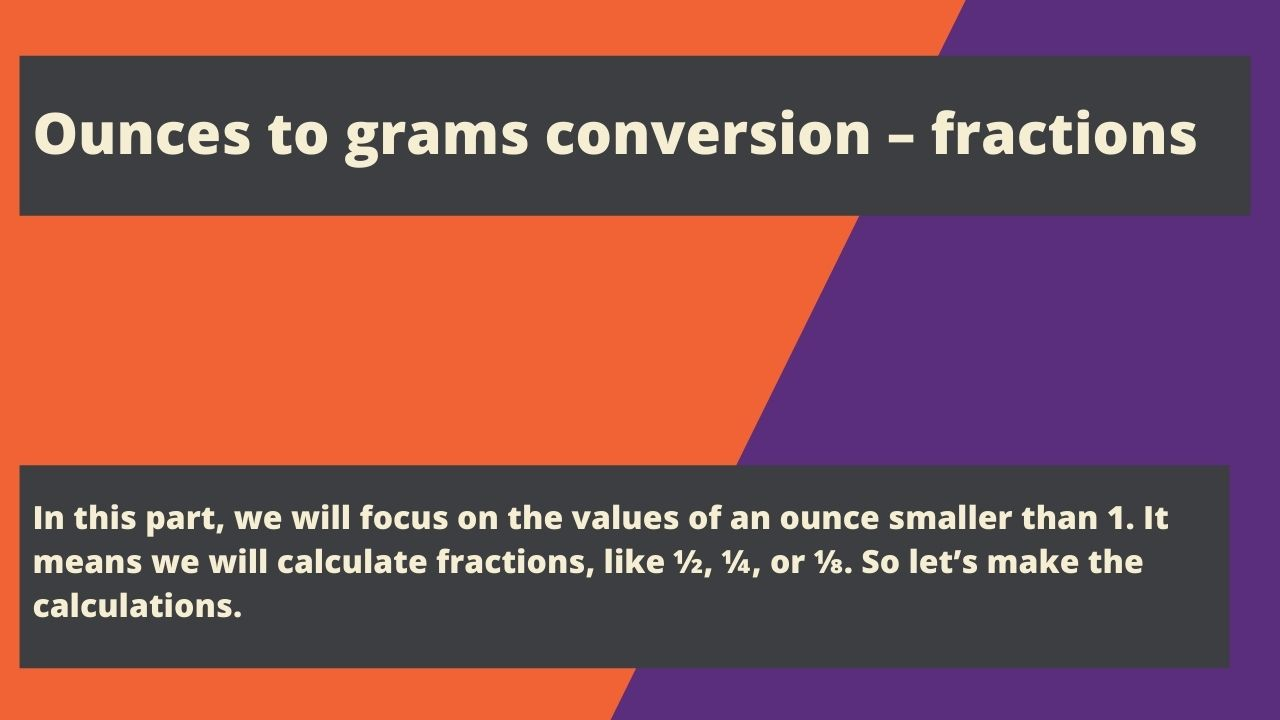Ounces to grams conversion – fractions